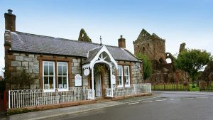 Abbey Cottage Tearoom, a Victorian cottage adjacent to Sweetheart Abbey in the historic village of New Abbey, Dumfries and Galloway, Scotland