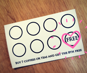Reverse side of Loyalty Card for Abbey Cottage Tearoom. Get seven stamps for a free eighth coffee or tea.