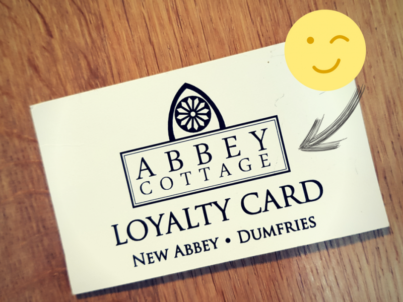 Image of front side of loyalty card for Abbey Cottage Tearoom, New Abbey, Dumfries. For a free cup of coffee or tea.