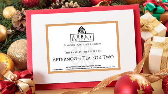 gift voucher for afternoon tea for two at Abbey Cottage