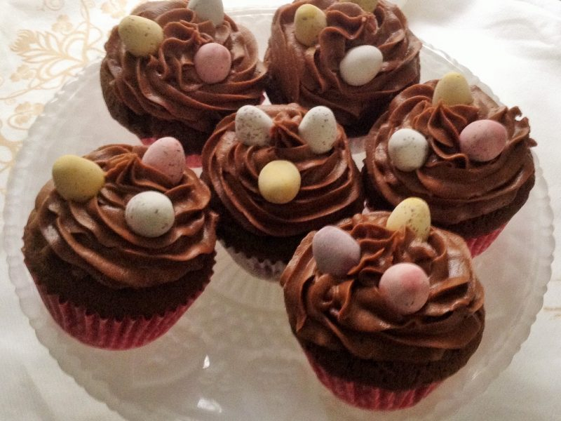 cup cakes with chocolate and mini eggs