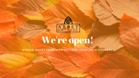 Opening hours for Abbey Cottage Tearoom Autumn 2019