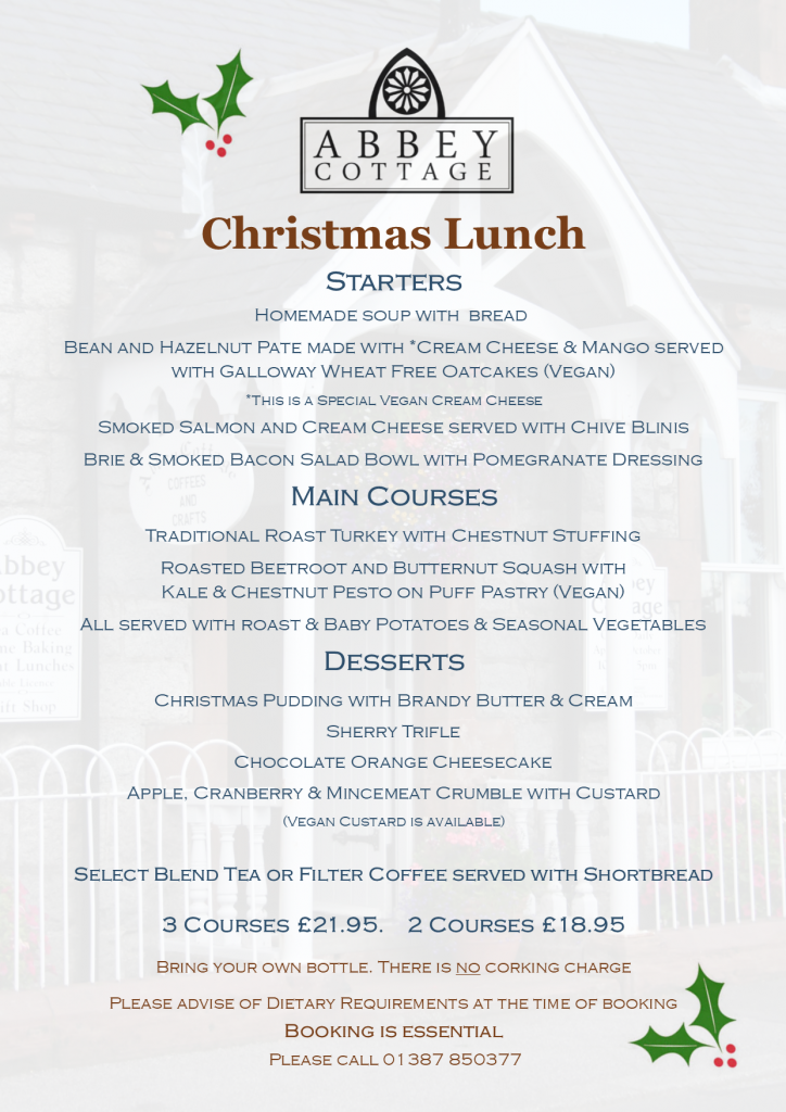 Festive food at Abbey Cottage Christmas Lunch menu 2019